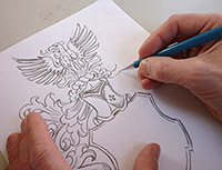 so entsteht ein Familienwappen in Handarbeit, Wappen erstellen, Wappen entwerfen, Wappendesign, Wappenkünstler, Wappen Muster