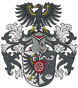 Adlerschwingen im Familienwappen, Wappen Standard, Wappen handgezeichnet, Familienwappen Entwurf